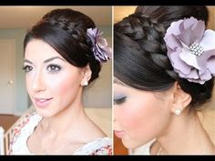 Wrap-around braid updo, depends a bit too much on bobby pins for my comfort but I can see the veil on it and it's simple. Wrap-around braid updo, depends a bit too much on bobby pins for my comfort but I can see the veil on it and it's simple. Lob Hairstyle, Headband Hairstyles, Pretty Hairstyles, Bad Hair, Hair Day, Holiday Hairstyles, Wedding Hairstyles, Wrap Around Braid, Elegant Updo