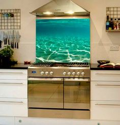 A unique take on Kitchen renovation!  A Saltmotion Splashback will make your home stand out among the crowd... #renovations #amazingspaces #underwaterphotography #kitchenideas