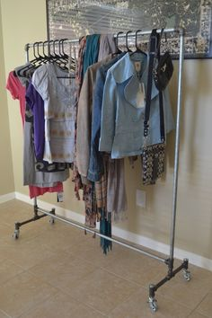 ROLLING Clothing Rack  GALVANIZED STEEL with by PipeDesigns, $230.00