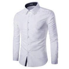 Mens Fashion Cotton Solid Color Turn-down Collar Casual Long Sleeve Dress Shirt at Banggood
