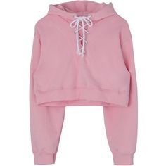 Lace-Up Front Cropped Hoodie ($34) ❤ liked on Polyvore featuring tops, hoodies, sweatshirt hoodies, lace up crop top, sports crop tops, pink hoodies and sports hoodies