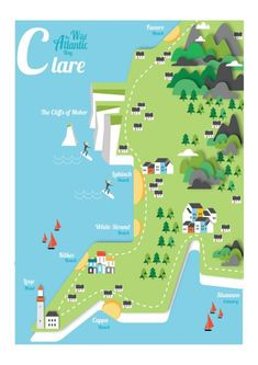 Clare, Ireland Map - A3 print is €25 from JamArtPrints.com. Designed and signed by Irish artist Gary Reddin, this beautifully vibrant map of Clare is part of a wide rang covering the whole of Ireland, it will make a lovely addition to any home decor or interior design project. #jamartprints #art #artwork #wallart #walldecor #wallhanging #diyhomedecor Ireland Map, Clare Ireland, Irish Art, Hanging Wall Art, Wall Hangings, 14th Century, Recherche Google, Vivid Colors, Vibrant