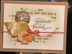 Friend Card - Stampin' Up So Many Shells Stamp Set, Stampin' Up Stitched Shapes Dies - Stampin' Up Pattern Party Stencil - Stampin' Up Inks: Soft Suede, Crumb Cake, Peekaboo Peach, So Saffron - Ranger Texture Paste Opaque Matte - Stampin' Up Thick Bakers Twine Calypso Coral - Cardstock: Stampin' Up Calypso Coral, Stampin' Up Crumb Cake, Strathmore Bristol Smooth