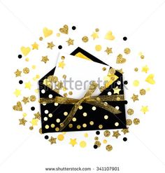 Black envelope with  gold confetti  and a blank card  - stock photo