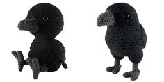 "A 7"" tall amigurumi of a raven. The pattern is available on Ravelry  or you can find it written below. If you have any questions, feel fre..."