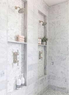 Bathroom shower tile ideas are a lot in choices. Grab some inspirations here and check out these shower tile ideas to revamp your old bathroom shower! Bad Inspiration, Bathroom Inspiration, Bathroom Ideas, Bathroom Organization, Bathroom Storage, Bathroom Showers, Bathroom Cabinets, Marble Showers, Bathroom Designs