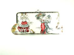 Cotton fabric  clutch skeleton design  free by HirasuCraft on Etsy, $44.00