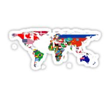 The World Flag Map Sticker