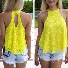 Cheap Sexy Sleeveless Back Split Solid Yellow Lace Shirt on Luulla Lace Vest, Lace Camisole, Summer Shirts, Wholesale Clothing, Lace Tops, Floral Tops, Blouses For Women, Ideias Fashion, Teen Fashion