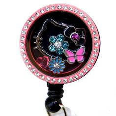 Pink Rhinestone Hello Kitty Charm Locket Badge Reel Retractable ID Badge Holder