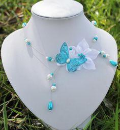 collier mariée mariage soirée perles et fleur de soie ivoire et turquoise  crystal