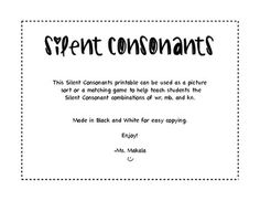 Silent Consonant word work! My first TpT work! I am a little over excited about it! AND IT'S FREE!