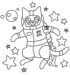 Stitch Fluffy's first trip to outer space with this adorable design! Downloads as a PDF. Use pattern transfer paper to trace design for hand-stitching.