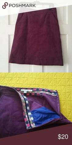 Corduroy Skirt Purple corduroy skirt.  Hits at knees or just above depending on height.  Great with knee boots and tall socks! Zips and clasps up the side.  Pockets on front. Boden Skirts A-Line or Full