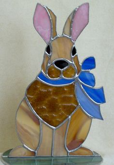 Stained glass large hare. Bunny rabbit sun catcher by ClearerImage