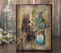 After seeing several cards and mixed media creations featuring the Tim Holtz Flower Jar stamp and die set, I had to give them a try. Vintage Flower Backgrounds, Vintage Flowers, Mason Jar Cards, Mixed Media Cards, Flowers In Jars, Mix Media, Wine Bottle Crafts, Flower Cards, Vintage Cards