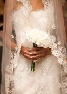 Oscar de la Renta Wedding Veil - complimented with a simple, elegant bouquet of carnations.  Timeless.