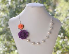 Bridesmaid+Necklace+Purple+and+Coral+Rose+by+RusticGem+on+Etsy,+$44.00