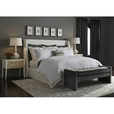 Mitchell Gold + Bob Williams Shepard King Floating Rail Bed ($2,982) ❤ liked on Polyvore featuring home, furniture, beds, queen bed, king bed, padded headboard, king size bed and queen platform storage bed