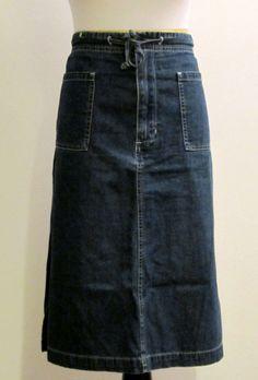 OLD NAVY Womens Size 18 Denim Jean Knee Length Modesty Skirt #OldNavy #ALine