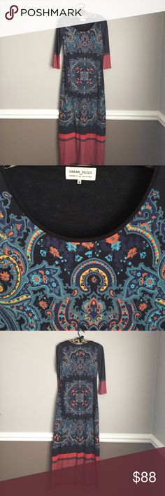 Anthro medallion maxi by dream daily EUC very gently worn.  Beautiful medallion print, soft fabric with hint of stretch.  Very flattering.  Pet free smoke free posher. Anthropologie Dresses Maxi