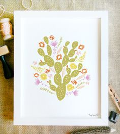 Nursery Artwork?  west art print 8 x 10 floral bouquet tribal flowers cactus geometric chic illustration nursery drawing in summer neon and neutral. $15.00, via Etsy.
