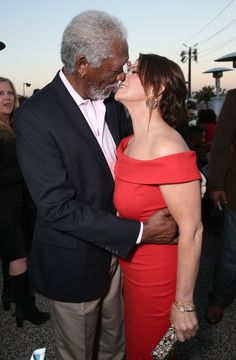 Hot New Couple Alert? Morgan Freeman and Marcia Gay Harden Share a Steamy Kiss on the Red Carpet Hot New Couple Alert? Morgan Freeman and Marcia Gay Harden Share a Steamy Kiss on the Red Carpet Mixed Couples, Couples In Love, Black Celebrities, Celebs, Interracial Family, Famous Interracial Couples, Mature Interracial, Interracial Marriage, Morgan Freeman
