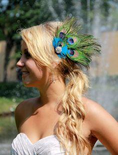 Wedding Peacock bridal fascinator hair accessory by kathyjohnson3