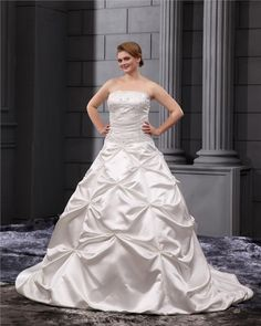 Satin Ruffles Applique Beads Strapless Plus Size Bridal Gown Wedding Dresses