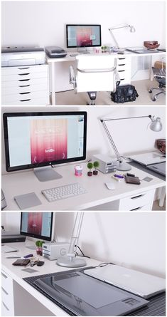 """This all-white office is perfect for those """"zen moments"""" that all of need throughout the day. No clutter -- just technology and brightness. Good morning!"""