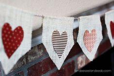 Landee See, Landee Do: No Sew Valentine Burlap Banner