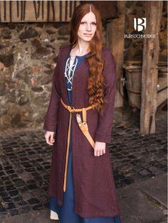 Manteau viking Siggi, en bordeaux et gris - Manteau épais ouvert. Possibilité de le fermer avec une broche. Disponible dans les tailles S - XXXL Matière: 40 % laine, 30 % polyester, 30 % acrylique