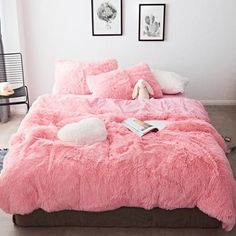 This duvet cover set is so soft, you will never want to get out of bed. Made of faux fur and velvet, every part of this set is pure decadence. Queen Size Measures: Queen Size 1 piece Duvet Cover: x 1 piece Flat Bed Sheet: x 2 pieces Pillowcases: x Velvet Bedding Sets, Pink Bedding Set, Velvet Duvet, Comforter Sets, King Comforter, Queen Duvet, Twin Size Bed Covers, Bed Cover Sets, Bed Sets