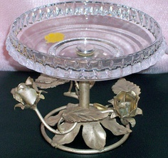 24% lead crystal candy bowl with silver roses base, German   $29.00