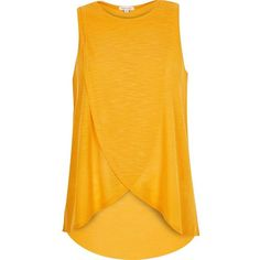 River Island Orange wrap front top ($32) ❤ liked on Polyvore featuring tops, t-shirts, orange, plain t-shirts / tanks, t shirts / tanks, women, river island top, sleeveless t shirt, river island and yellow top