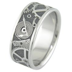 Chronos Steampunk Style Titanium Ring by boonerings on Etsy, $375.00