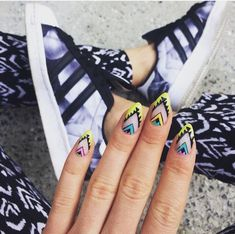 157 images about uñas ☆ on We Heart It Nails Now, Xmas Nails, How To Do Nails, 3d Nails, Nail Art Tribal, Tribal Nails, Colorful Nail Designs, Gel Nail Designs, Bohemian Nails