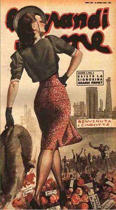 """By Gino Boccasile (1901-1952), """"Benvenuta a Cinecittà"""". #ItalianPoster"""