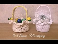 Cappellino bomboniera all'uncinetto - YouTube Easter Crochet, Crochet Crafts, Free Crochet, Knit Crochet, Crafts Beautiful, Baby Shower Favors, Easter Crafts, Lana, Free Pattern