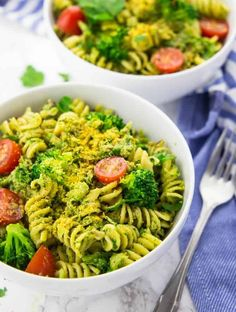 This broccoli pesto with pasta and cherry tomatoes is one of my favorite weeknight meals! It's super easy to make, incredibly delicious, and so healthy!