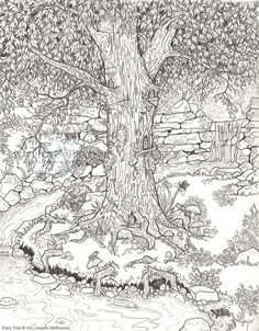 FAIRY GARDEN COLORING PAGE. For the little ones and grown-ups.