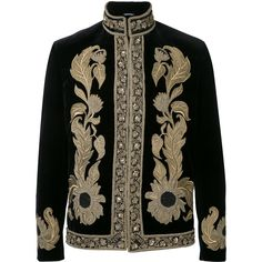 Alexander McQueen embroidered trim jacket (€10.210) ❤ liked on Polyvore featuring men's fashion, men's clothing, men's outerwear, men's jackets, black, alexander mcqueen mens jacket and men's embroidered bomber jacket