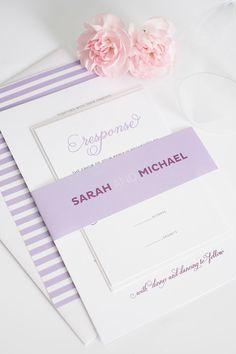 Cute Wedding Invitations in Purple. Modern Whimsy Wedding Invitations.