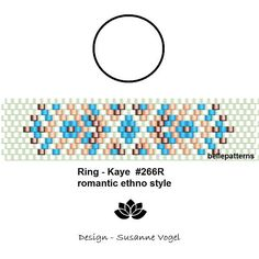 DETAILS: Kaye - romantic ethno style #266R Peyote ring pattern - The ring-length is adjustable. Size: 1,5 cm x 6,2 cm / 0.58 x 2.44 - odd count Beads: Miyuki Delica 11/0 PREVIOUS KNOWLEDGE: Peyote stitch The pattern does not include instructions for how to do the peyote stitch!