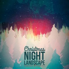 Abstract christmas night landscape background Free Vector