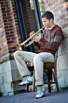 Trumpet sitting on chair