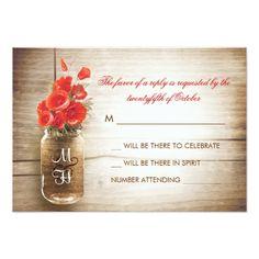 Mason Jar Wedding RSVP  Mason jar & red flowers wedding RSVP card