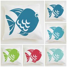 12x12 Nursery pillow covers hand printed fishes  by Netamente, $20.00