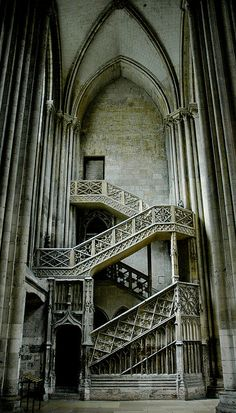 Staircase in Cathédrale Notre-Dame, Rouen, Normandy, France. A Gothic cathedral with tours including remains of a crypt from Roman structure on site. Art Et Architecture, Beautiful Architecture, Beautiful Buildings, Architecture Details, Beautiful Places, Ancient Architecture, French Gothic Architecture, Abandoned Buildings, Abandoned Places