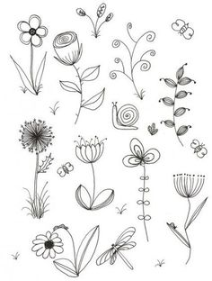 My original art, inspired by many. Doodle, flower, line drawing My original art inspired by Line Drawing Tattoos, Flower Line Drawings, Botanical Line Drawing, Flower Sketches, Drawing Flowers, Tattoo Flowers, Sketch Tattoo, Flower Garden Drawing, Simple Flower Drawing